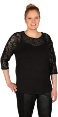 Cassiopeia - Stylish soft blouse with lace support piece and 3/4 sleeves, also in lace