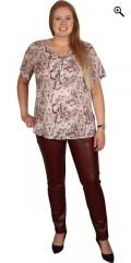 Zhenzi - T-shirt med korte ærmer og stolpelukning, i super smart mønster