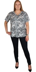 Zhenzi - T-shirt med korte ermer og stolpelukking, i super smart mønster
