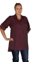 Zhenzi - Skjortebluse med draperbare 3/4 ærmer