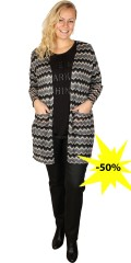 Cassiopeia - Bosso cardigan with long sleeves in fine chrocheted pattern