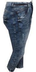 Cassiopeia - Jeans mit stretch und 5 taschen sowie regulierbar elastik in die taille 7/8 beinlänge