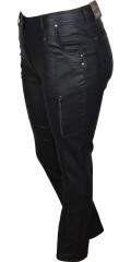 Zhenzi - Blå coatede salsa stretch jeans med regulerbar elastik i taljen
