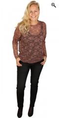 Zhenzi - Blonde bluse med rund hals og lange ærmer