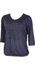 Zhenzi - Bluse med let v-hals og smart tryk med sten