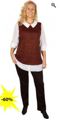 Zhenzi - Bluse (2 i 1) med på syet krave, ærmer og skjorte forlænger