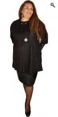 Zhenzi - Tunika kjole i ruskind look a like med rund hals og 3/4 ærmer