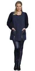 Q´neel - Q-neel tunika i italiensk milano hør med 2 lommer og lange ærmer