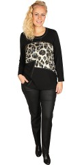 Q´neel - Q-neel blouse with long sleeves and round neck also nice print on front piece