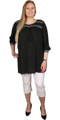 Zhenzi - Tunika bluse i crepe og med smock indsat ved forstykke og ærmer