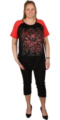 Handberg - T-shirt with short sleeves in contrast colour