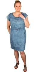Juna Rose (Bestseller) - Smart tunika klänning i denim och med rund hals och 2 fickor som avslutas med blixtlås