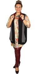 Nais - Gennemlynet vest med lommer og indsatser af skind look