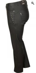 Zhenzi - Coatet strech jeans (model stomp legging fit) med elastik i taljen