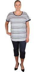 Zhenzi - T-shirt med korte ermer flotte striper