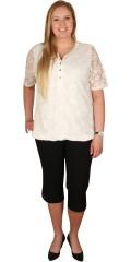 Zhenzi - Blonde t-shirt med blonde i ermene og forstykket