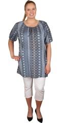 Zhenzi - Tunika bluse med elastik ved hals og ærmer