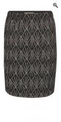Studio - Nederdel med elastik i hele taljen og i super smart mønster med sølv tråd