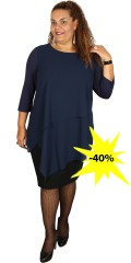 Studio - Tunica/dress with round neck and 3/4 sleeves with layer on layer