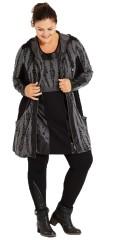 Nais - Cardigan med hætte og 2 lommer samt læder look og net påsyet