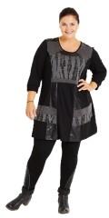 Nais - Tunika med 3/4 ærmer og rund hals samt læder look og net påsyet forstykket