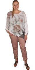DNY (Marc Lauge) - Andrea blouse, sløret krepp tunika med 3/4 ermer, som kan drapert opp