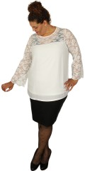 Zhenzi - Bluse mit Spitze Ärmeln mit Weite in und Spitze in oben vorne und hinten