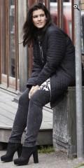 Zhenzi - Black quilted jacket with rib collar