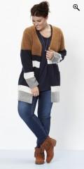 Zhenzi - Lang cardigan i flotte farver og med 2 lommer