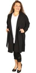 Zhenzi - Smart lang kardigan jakke med krave, lukkes med bindebånd