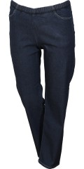 Zhenzi - Jazzy entspannt fit lang Denim Hosen mit Stretch und Elastik in ganze die Taille