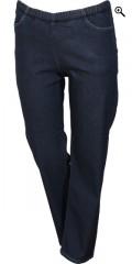 Zhenzi - Jazzy relaxed fit long denim pants med strech og elastik i hele taljen