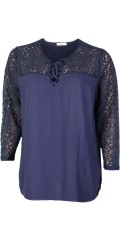 DNY - Nora blouse with lace sleeves, is closed with tie string