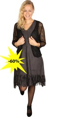 Adia - Dress with fringes at the bottom and hard sewn slip