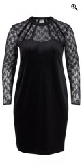 Zizzi - Party dress in fine velours with fine lace sleeves and in bære the piece
