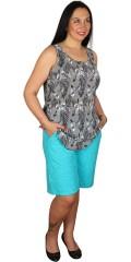 Handberg - Shorts med elastik i hele taljen og præget mønster