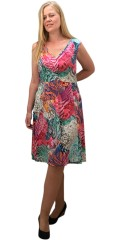 Handberg - Tunica dress without sleeves and in super smart print