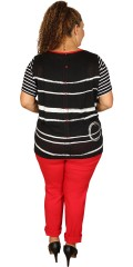 One More - Viscose blouse with short sleeves, stripes front and fine knit with stripes also buttons in the back