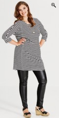 Studio - Oversize tunica kjole med 3/4 ærmer i strechy materiale