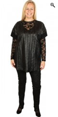 Gozzip - Oversize t-shirt in fake fur, super smart braid in front piece viscose backpiece