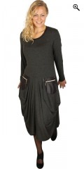 Q´neel - Stylish q-neel dress in quality viskose-jersey, with look a like fur at neck and pockets