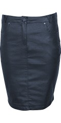 Zhenzi - Nice dark blue coated pencilskirt with stretch and adjustable rubber band in the waist