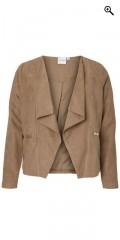 Juna Rose (Bestseller) - åpen blazer jakke i semsket skinn look a aktig med for og pynte lommer