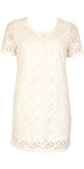 DNY - Saga blonde kjole med fast syet foer og korte ærmer