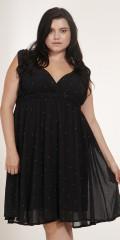 Adia - Klänning utan ärmar och med gummiband i bröstet och med fast påsydd underklänning