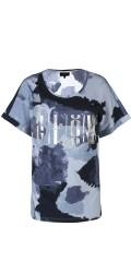 Zhenzi - T-shirt med korte ærmer og rund hals i flot print med blank tryk