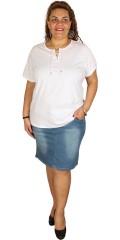 Zhenzi - T-shirt med korte ærmer og stolpelukning med bindebånd