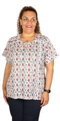 Zhenzi - T-shirt med korte ærmer, slidse i halsen og i siderne