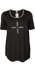 Que - Bluse/T-Shirt in a Fasson mit befestigt Leder-Patches