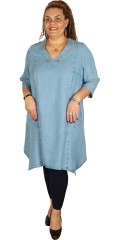 Q´neel - Tencel denim/denim dress with 3/4 sleeves and asymmetrical lengths
